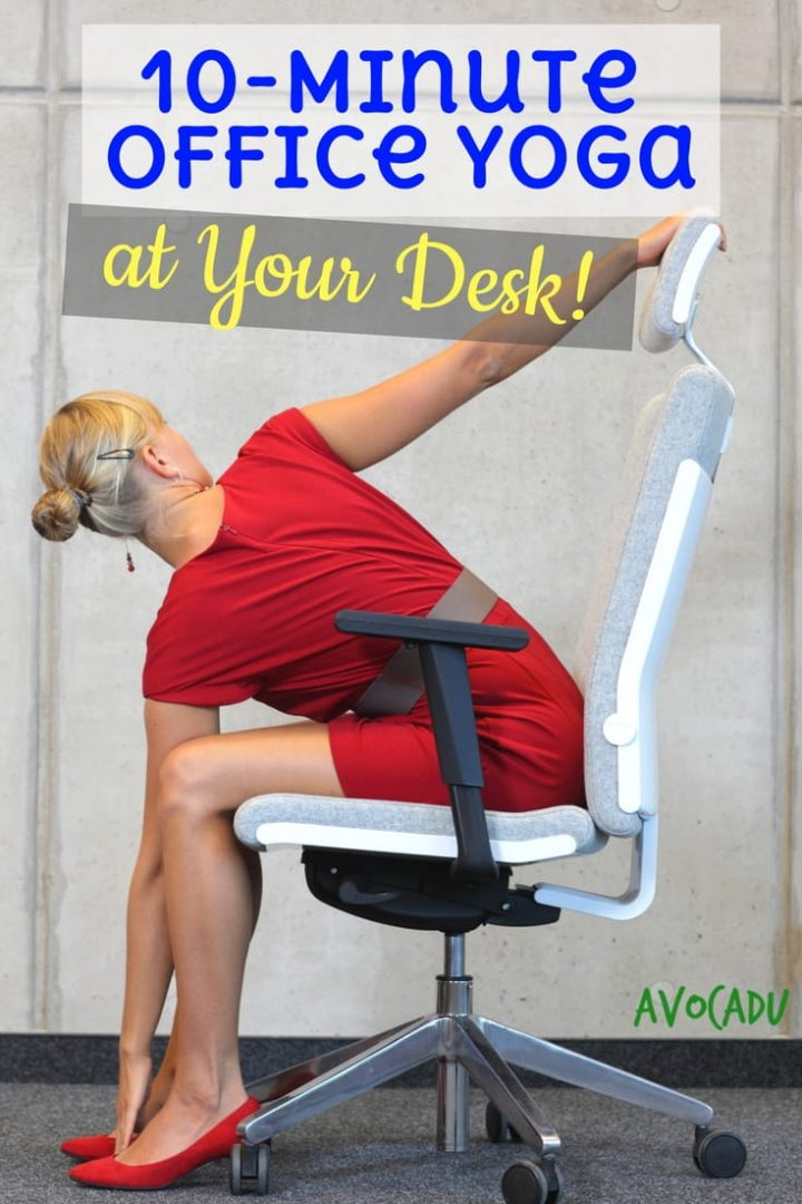 10-Minute office yoga at your desk to relieve tension | Office yoga routine to relieve stress and anxiety | Avocadu.com