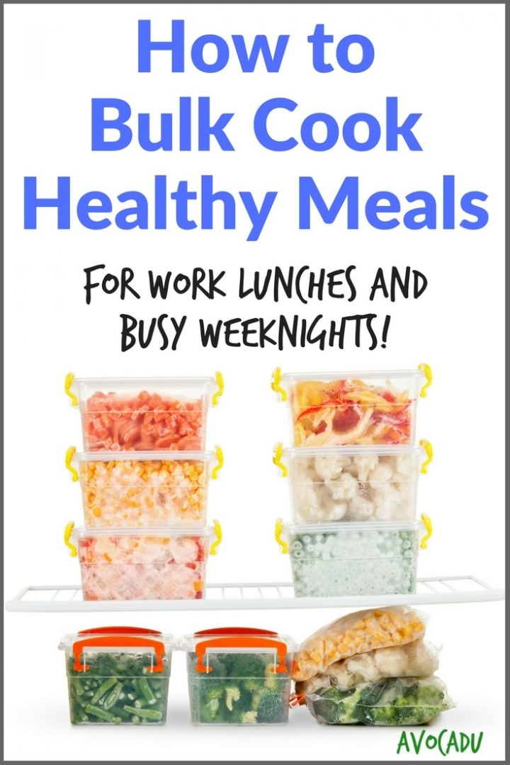 How to bulk cook healthy meals for weeknight dinners to help you stick to your diet and lose weight   More weight loss tips and healthy recipes at Avocadu.com