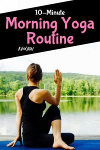 This 10-minute morning yoga routine is a great yoga workout for beginners to start your day!   Avocadu.com