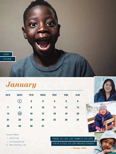 January 2018 Adoption Calendar Ethiopia