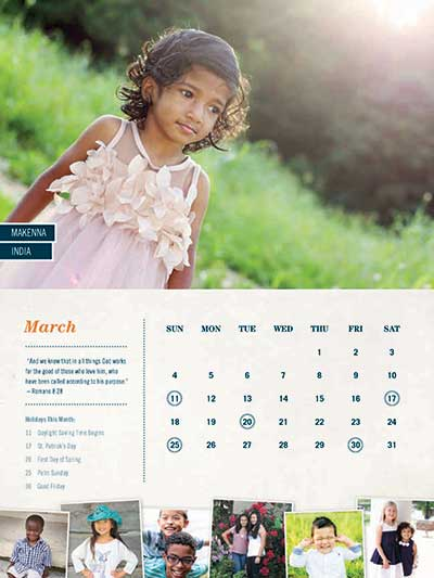March 2018 Adoption Calendar India