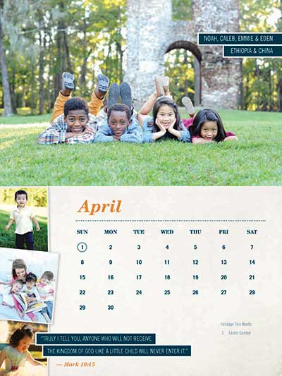 April 2018 Adoption Calendar China Ethiopia