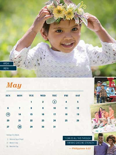 May 2018 Adoption Calendar India