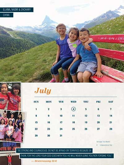 July 2018 Adoption Calendar China