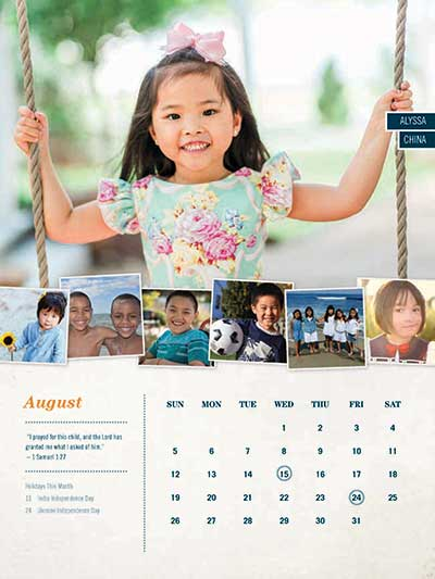 August 2018 Adoption Calendar China
