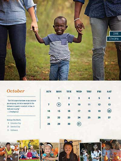 October 2018 Adoption Calendar Ethiopia