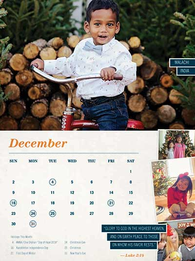 December 2018 Adoption Calendar India
