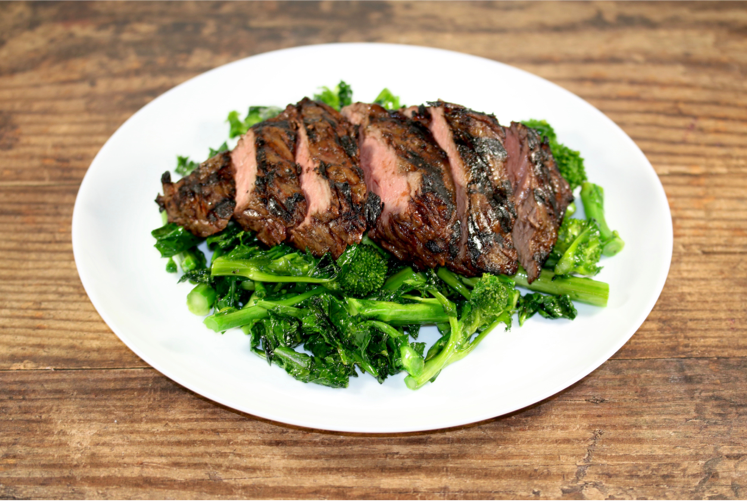 Grass Fed Sirloin with Broccoli Rabe