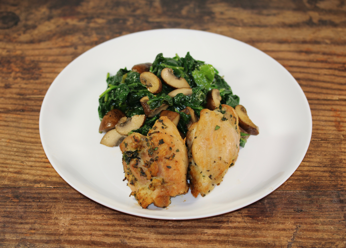 Oven Roasted Chicken Thighs with Garlicky Spinach and Mushrooms