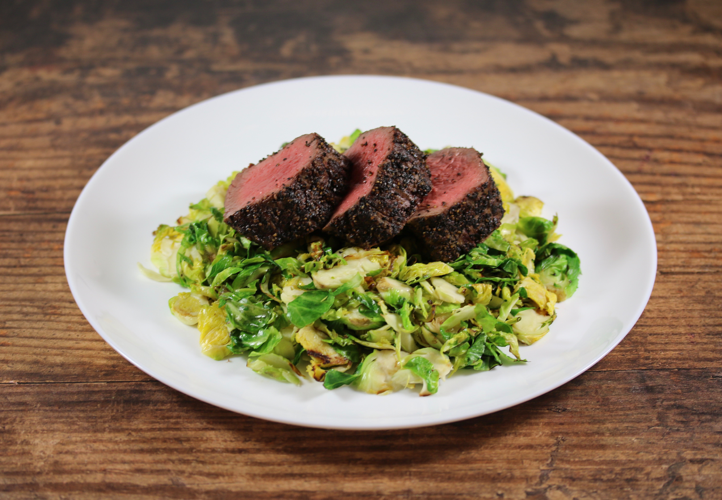 Peppered Sirloin over Shaved Brussel Sprouts