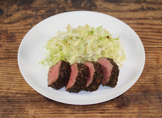 Peppered Sirloin with Sauteed Cabbage