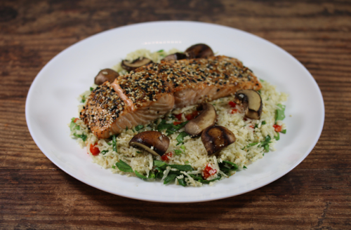 Everything Crusted Salmon Over Cauliflower Rice
