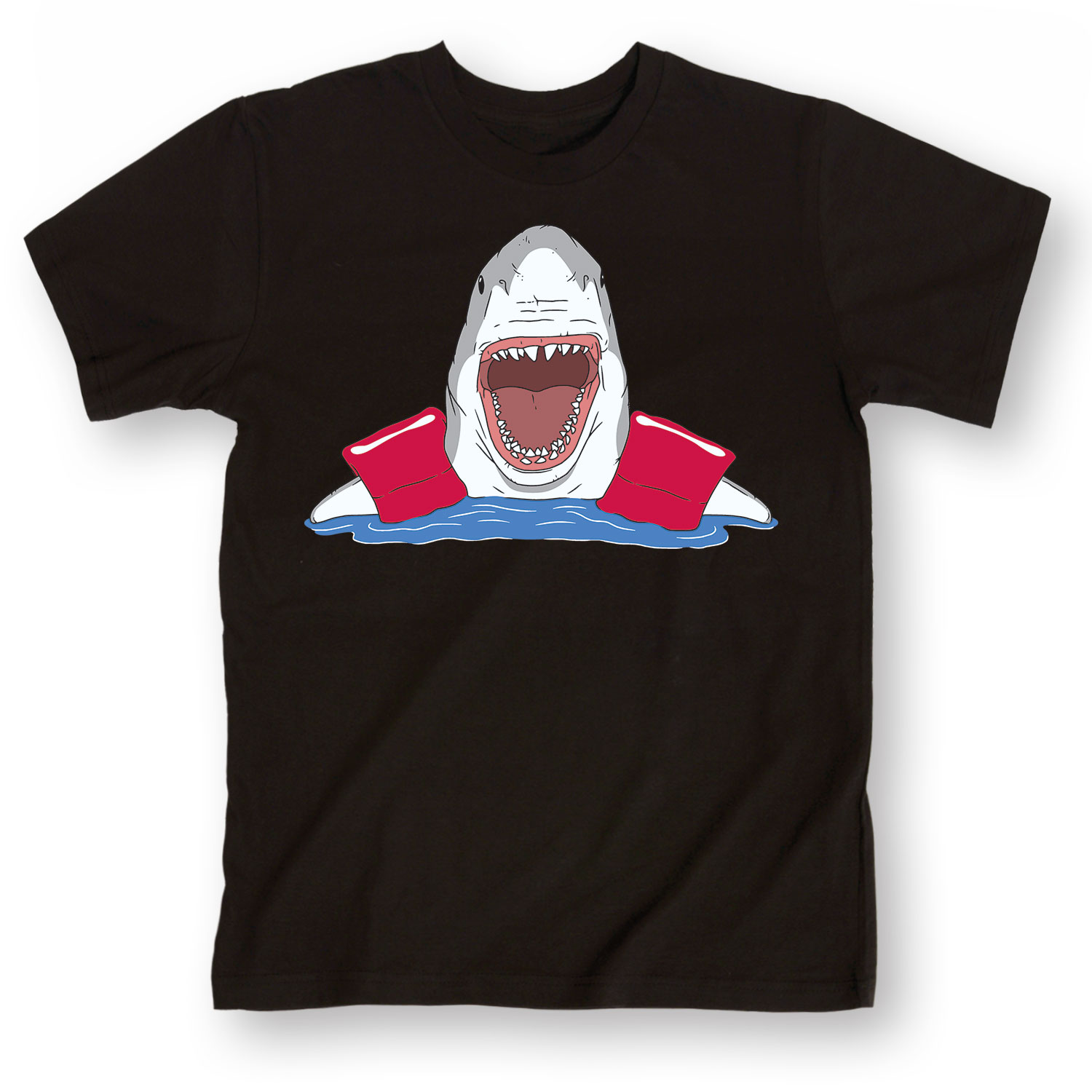 Shark with floaties funny swimming teeth beach vacation for Beach t shirts for men