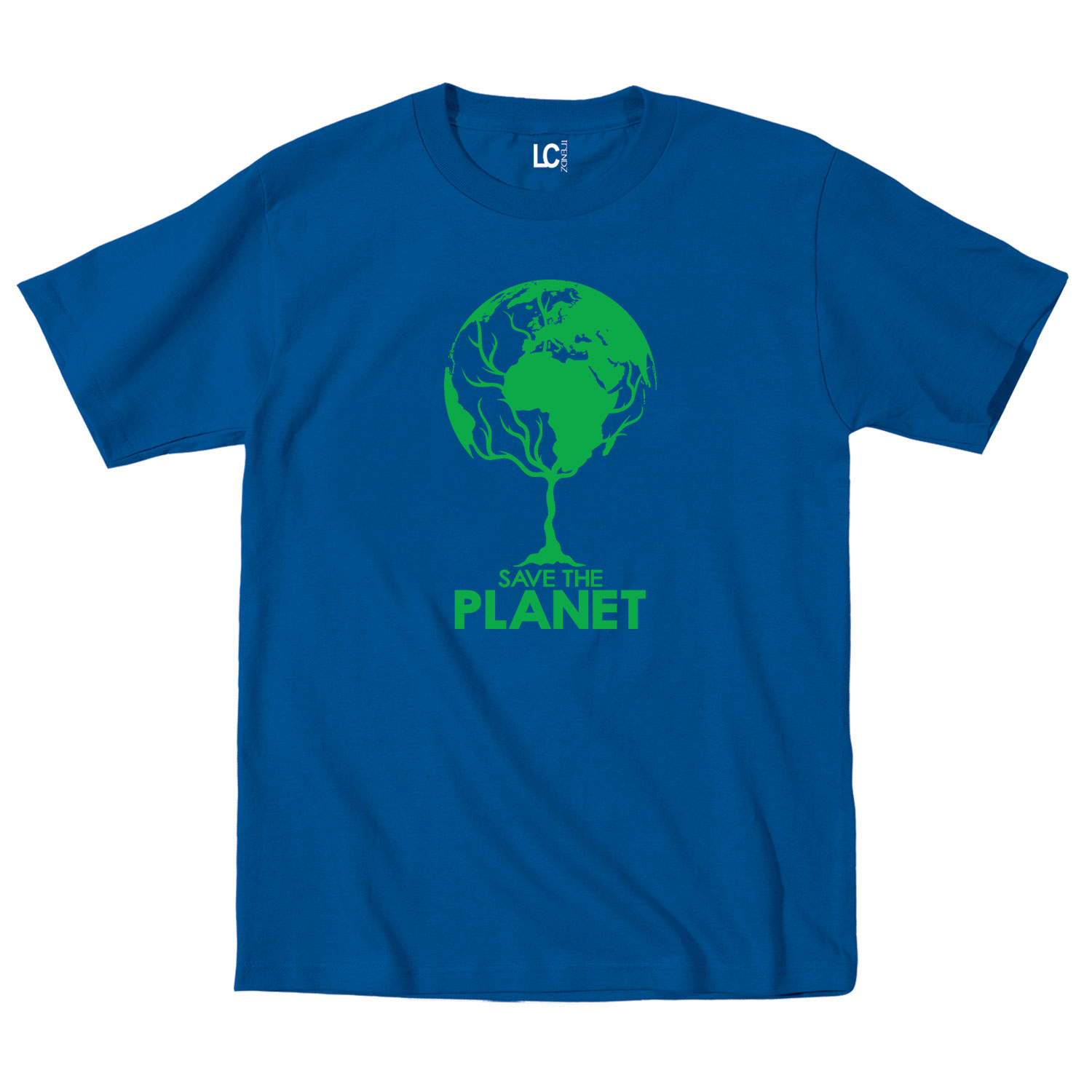 Save the planet earth globe tree cool earth day go green for Green mens t shirt