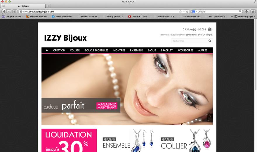 Conception du site Boutique Izzy Bijoux