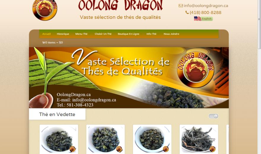 Site Internet de la boutique de thés Oolong Dragon