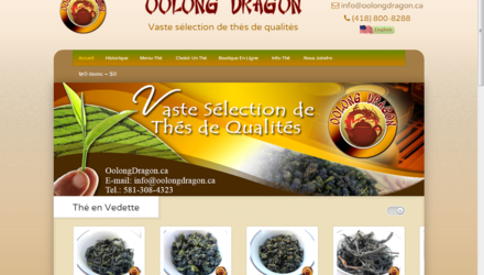 Site Internet de la boutique de thés Oolong Dragon