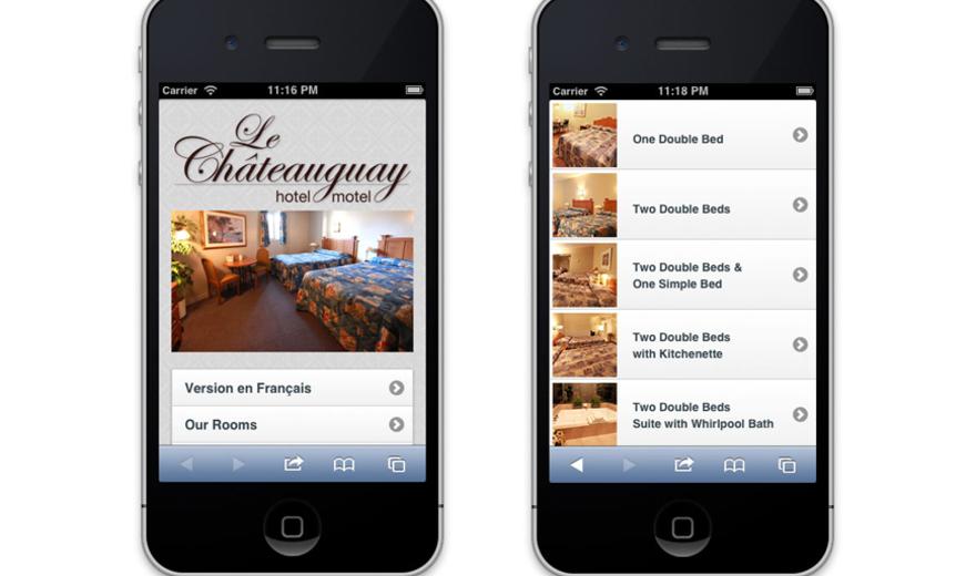 La version mobile de site de l'Hôtel Chateauguay