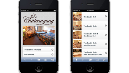 La version mobile de site de l'Hôtel Chateauguay