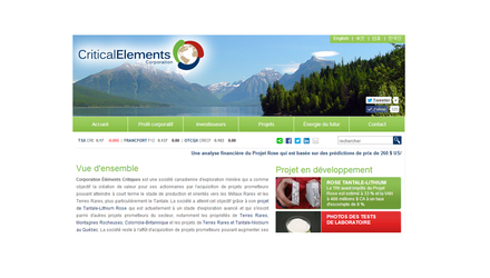 Critical Elements Corporation - Lithium