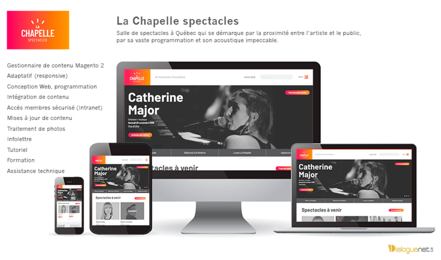 Centre d'art La Chapelle : site Web Magento