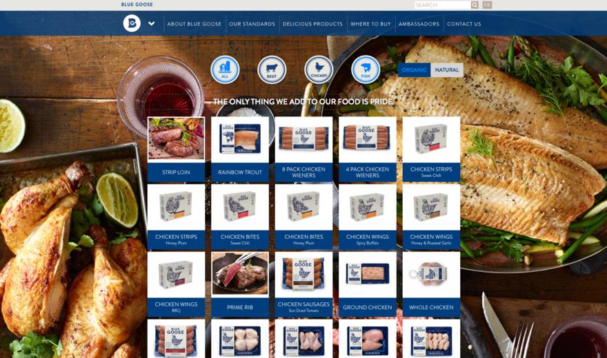 Site web pour Blue Goose