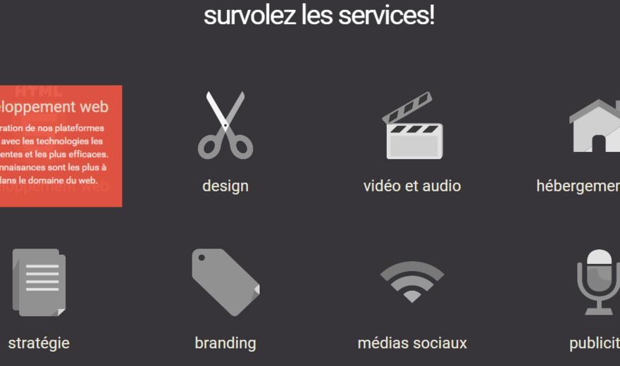 Page interractive des services Snowl Média