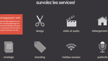 Page interractive des services Snowl Média