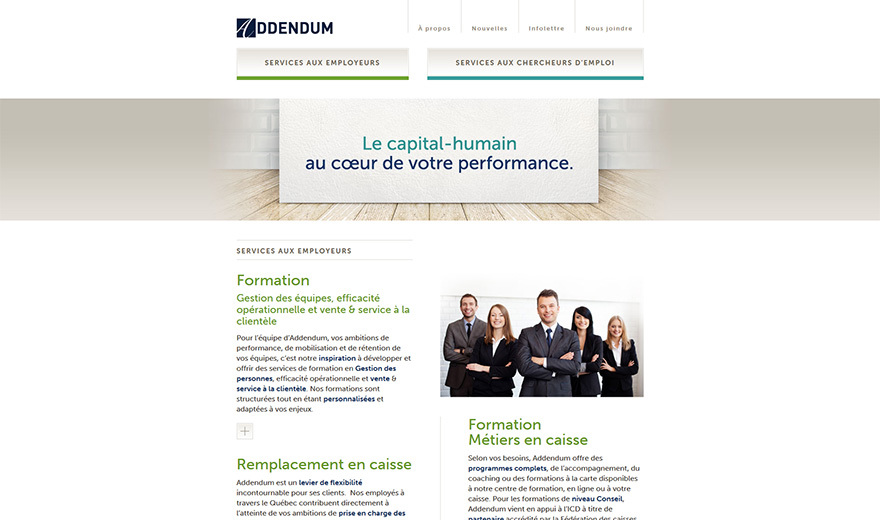 Conception du site Web d'Addendum