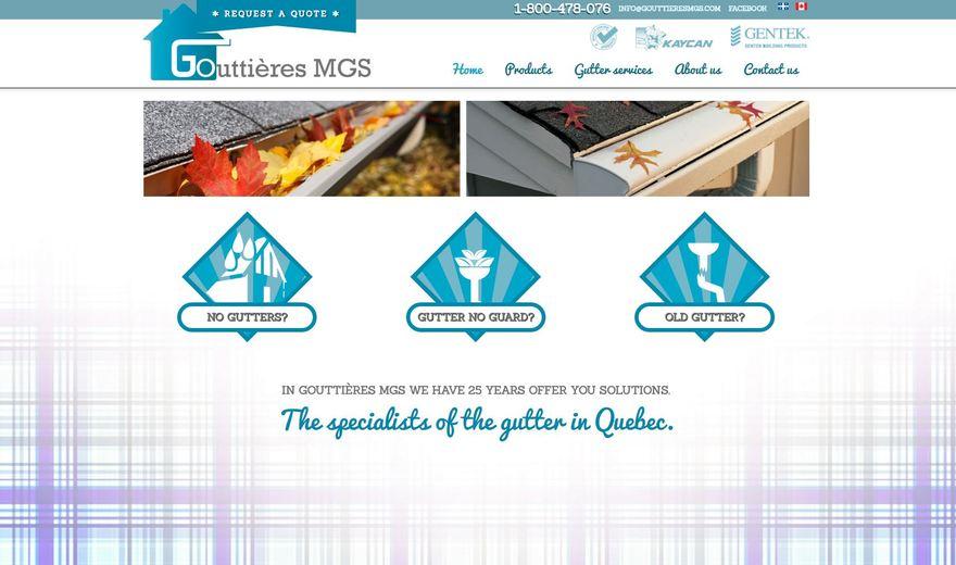 Site web entreprise installation de gouttières