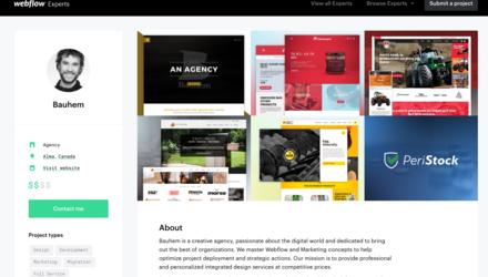 Visitez notre profil Webflow et contactez-nous.