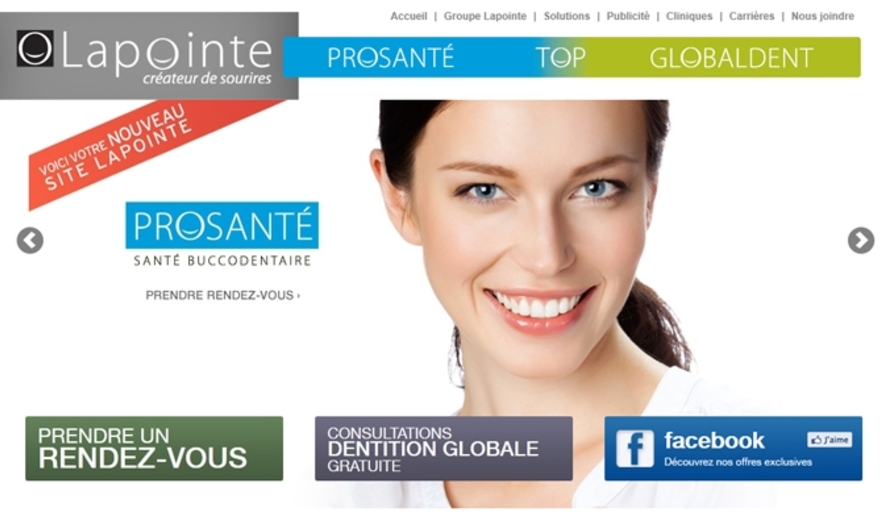 Site Internet des Centres Dentaires Lapointe