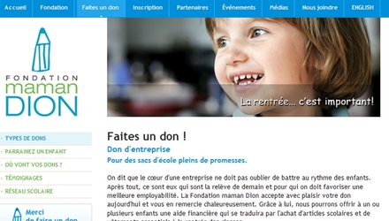 Site Internet de Fondation Maman Dion