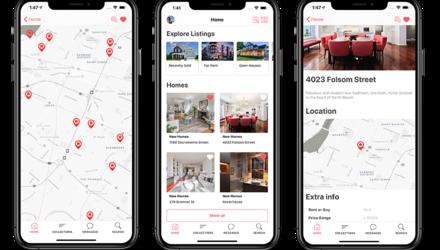 Écrans d'une application mobile pour l'immobilier