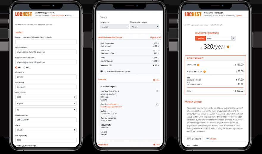 Écrans de site Web mobile d'un système de gestion sur mesure