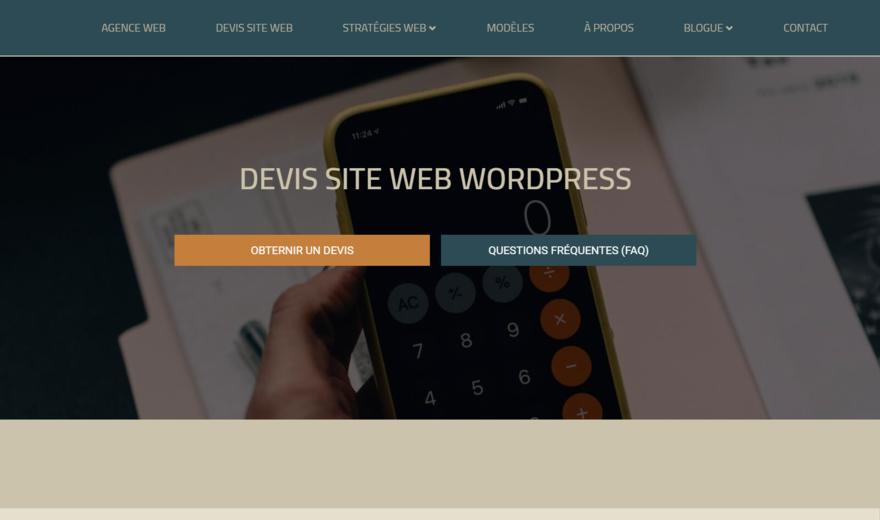 Devis site web Wordpress