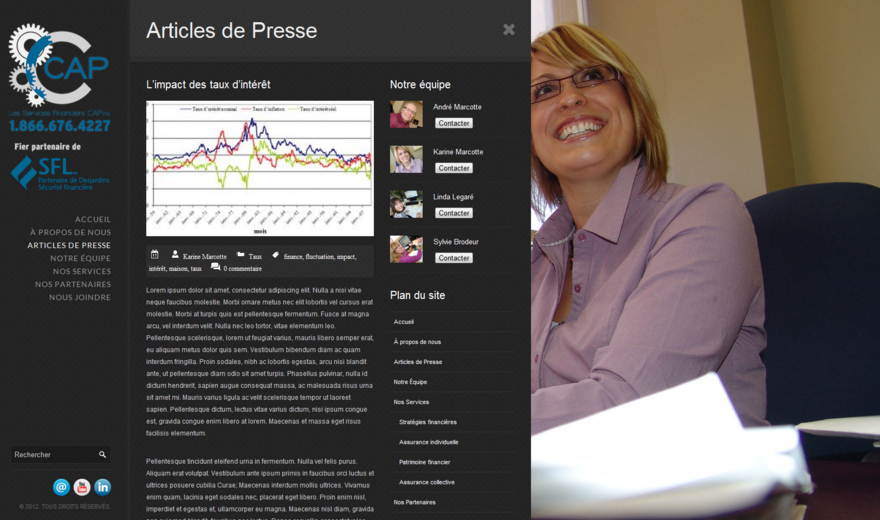 Site web des services financiers CAP