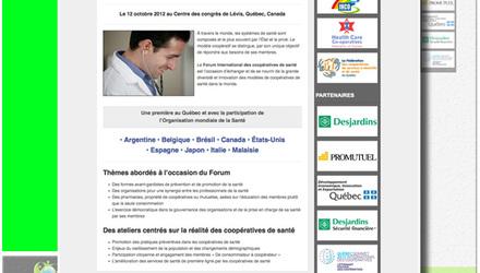 Site Web pour le Forum International des Coopératives de Santé