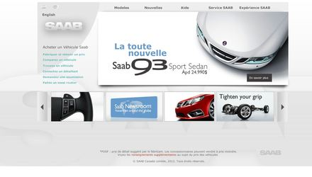 Design d'interface site Web SAAB