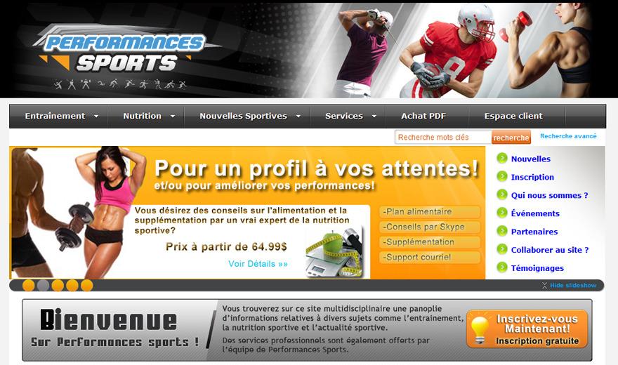 Site web sportif Performances Sports
