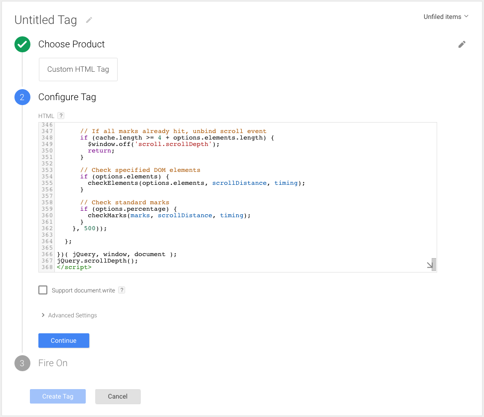 Tracking Scroll Depth with Google Tag Manager