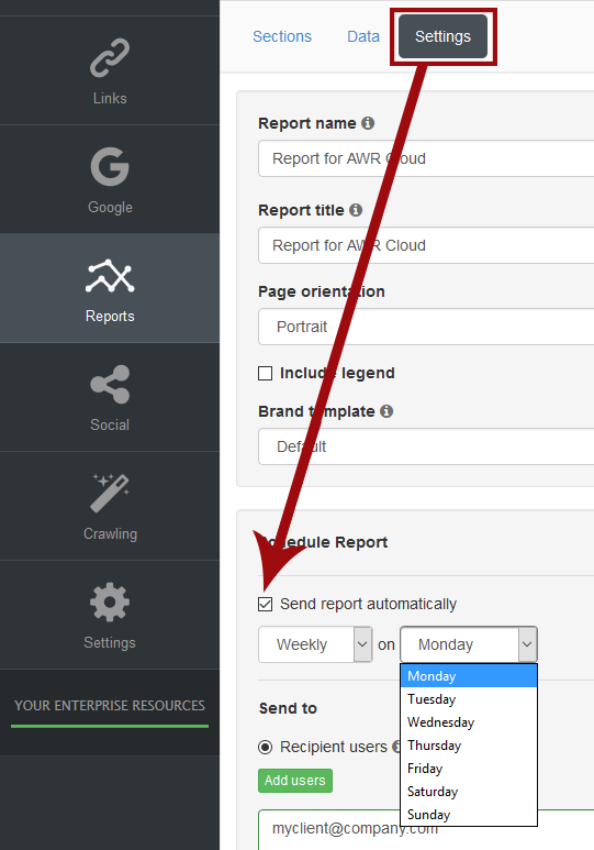 scheduled reports in AWR Cloud