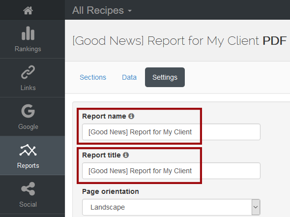 report title in AWR Cloud