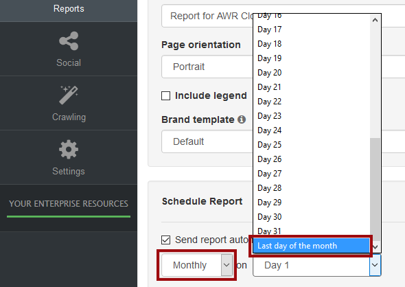 last day of the month reports option in AWR Cloud