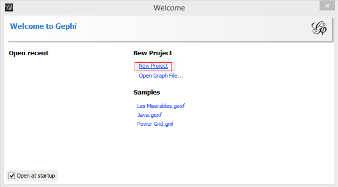 Gephi New Project