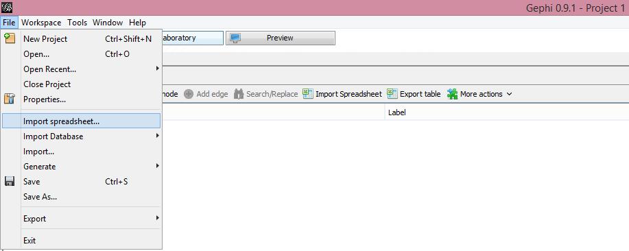 Gephi import spreadsheet.