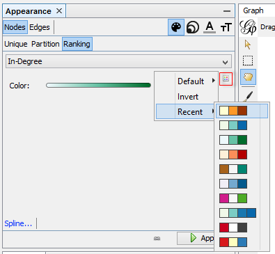 Gephi appearance tab.