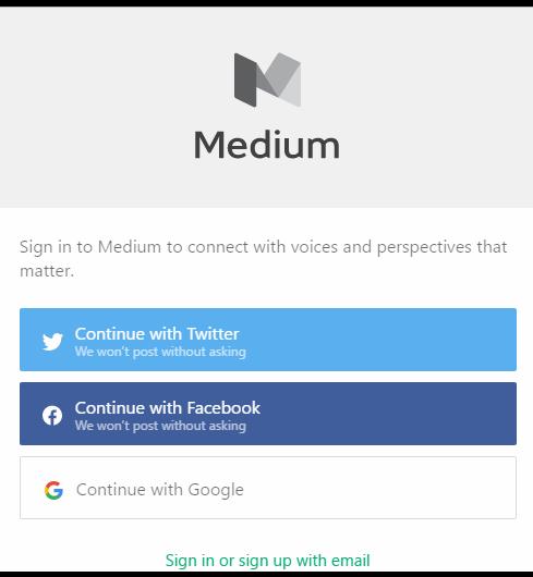 Medium signup