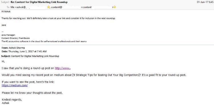 Ashok outreach email