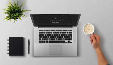 desktop, laptop, coffee